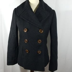 J. Crew gray wool blend doublebreasted peacoat xs
